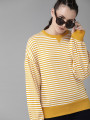 Women Mustard Yellow & White Striped Top