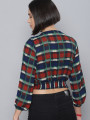 Women Red Checked Cropped Wrap Top