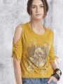 Women Mustard Yellow Printed Cold Shoulder Top