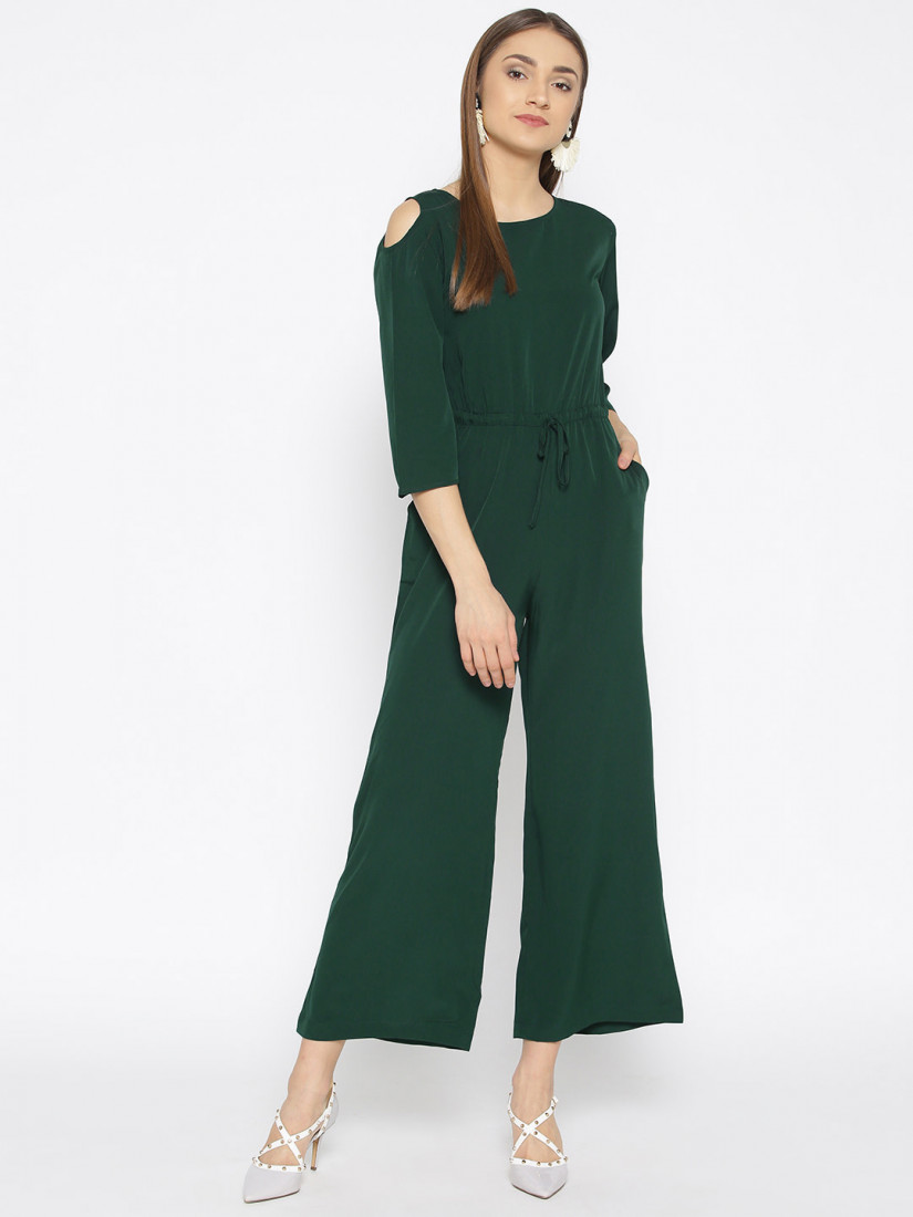 Women Green Solid Basic Jumpsuit