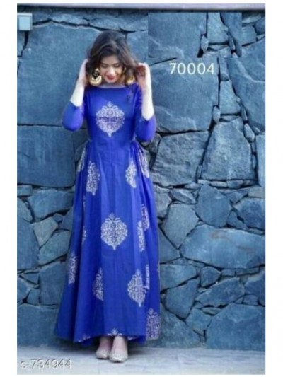 Blue Designer Cotton Gown