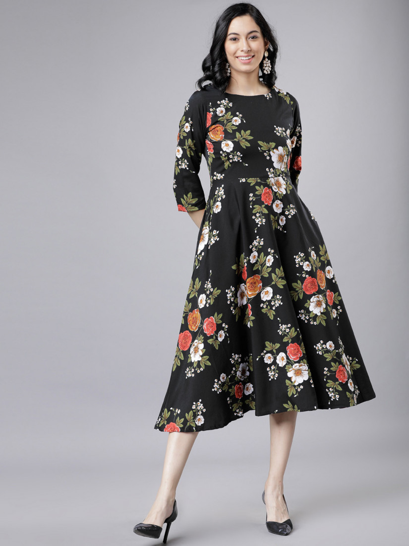 Women Black & Red Floral Print Fit and Flare Dress