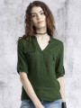 Women Olive Green Shirt Style Top