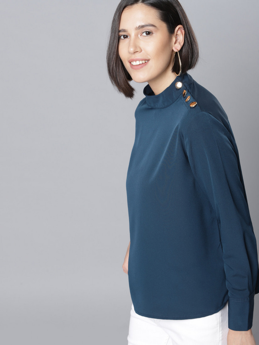 Women Teal Blue Solid Top