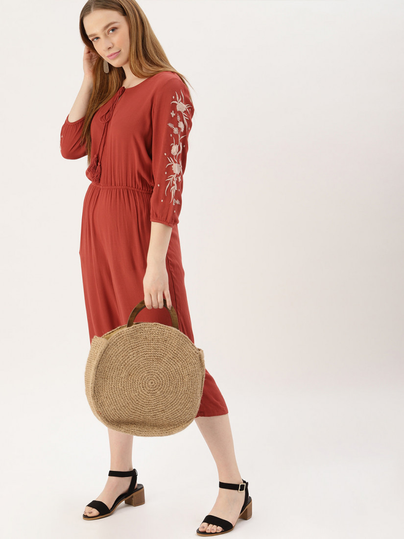 Women Rust Red Solid Culotte Jumpsuit