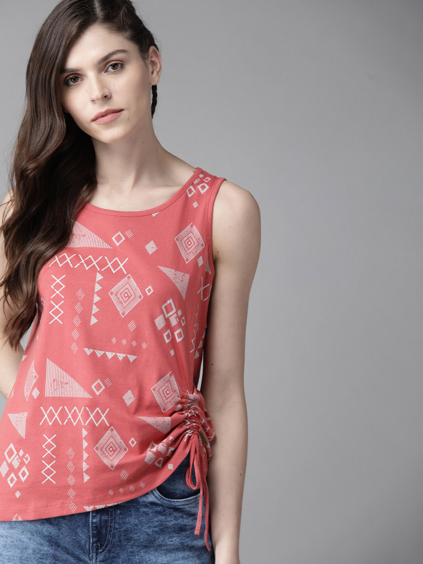 Women Pink & Off-White Printed Top