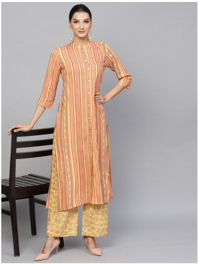 orange designer kurta with plazzo