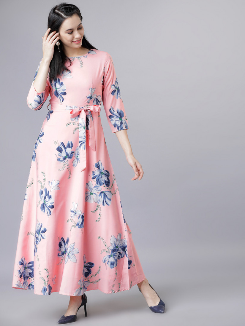 Pink Floral Print Maxi Belted Dress