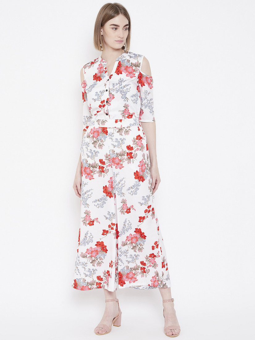Women White & Red Printed Cold-Shoulder Basic Jumpsuit