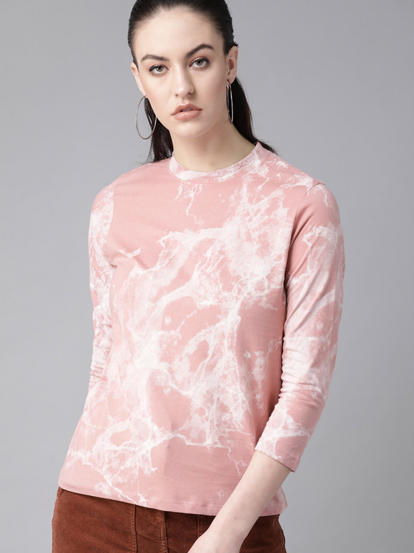 Women Peach-Coloured Dyed Top