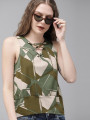 Women Green Printed Styled Back Top