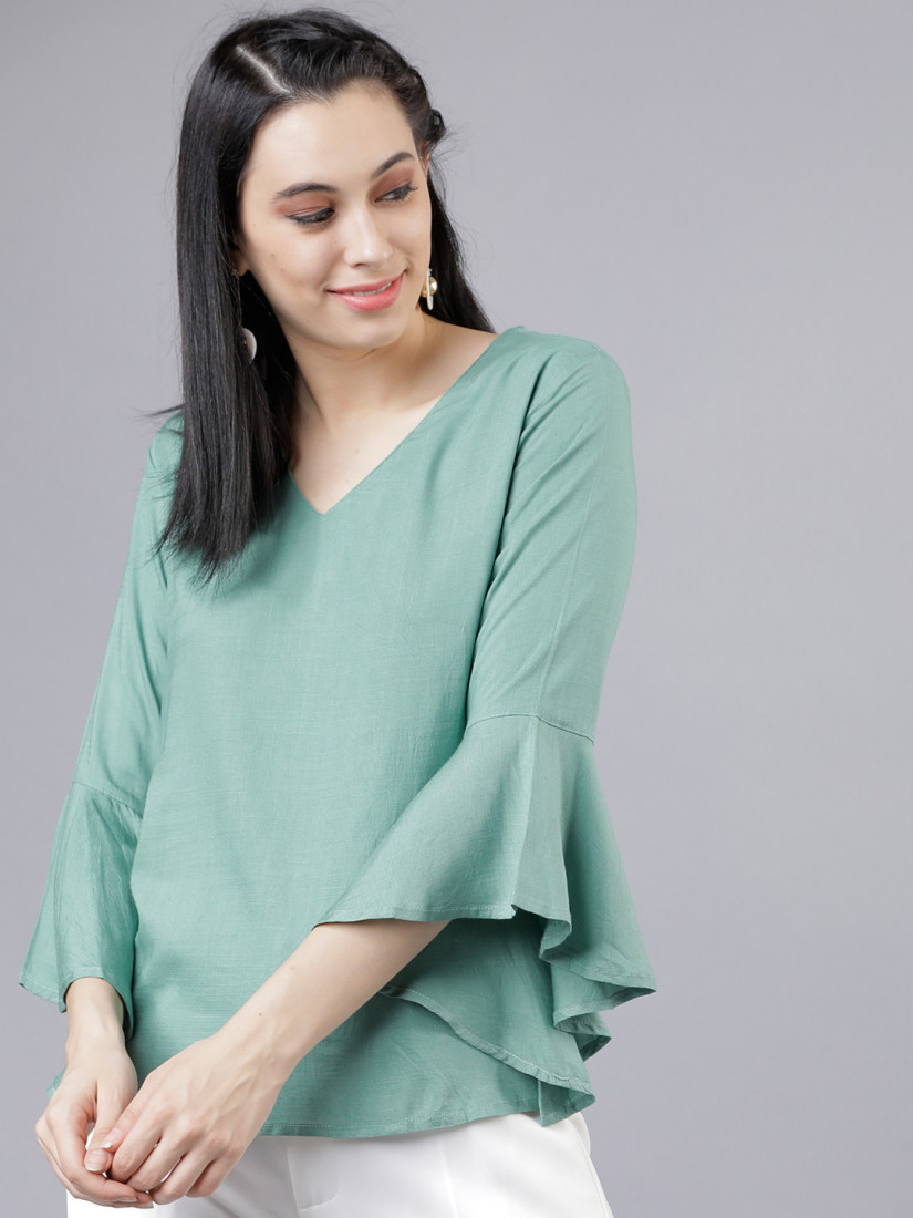 Women Green Solid Top