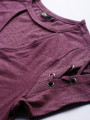 Women Burgundy Solid Lace-Up Sleeve Choker Neck Top