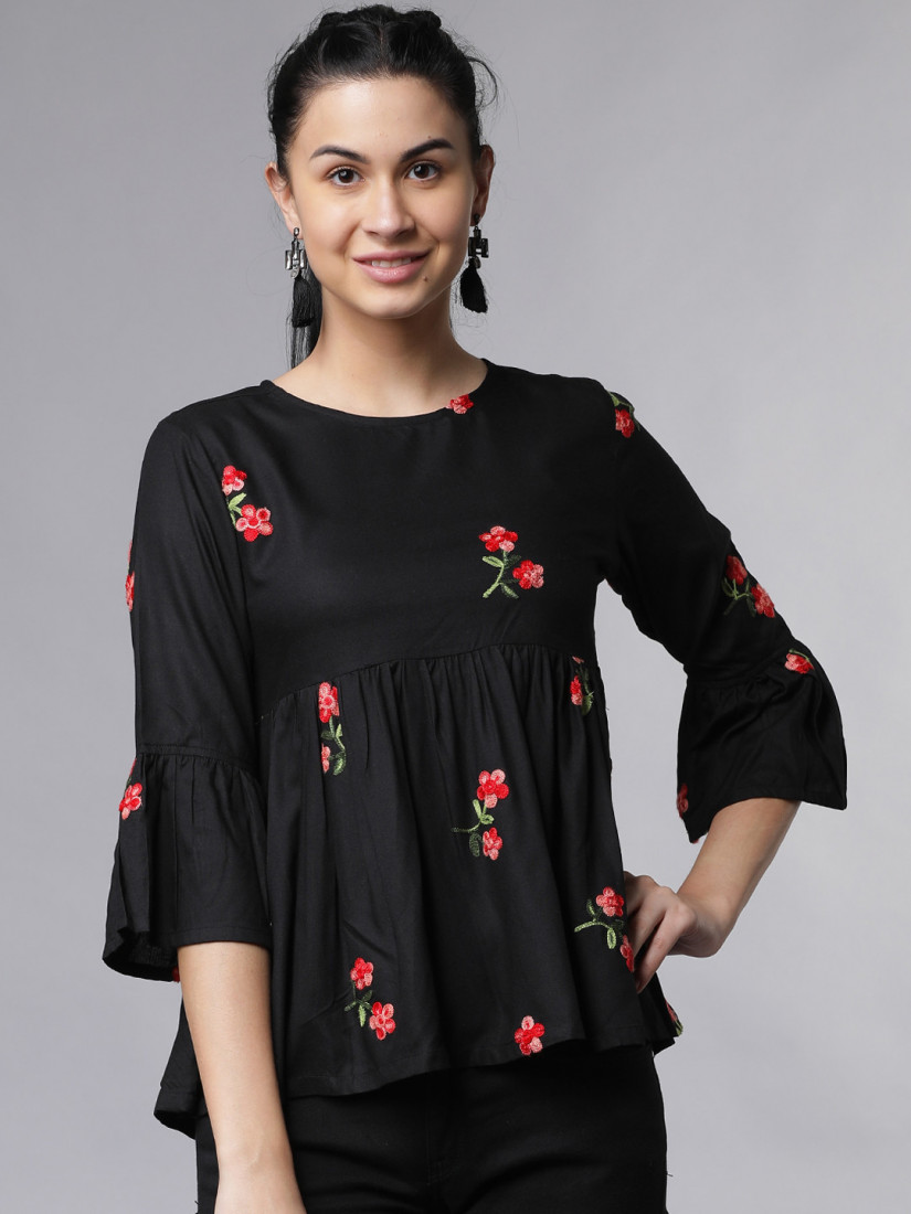 Women Black Floral Embroidered Peplum Top