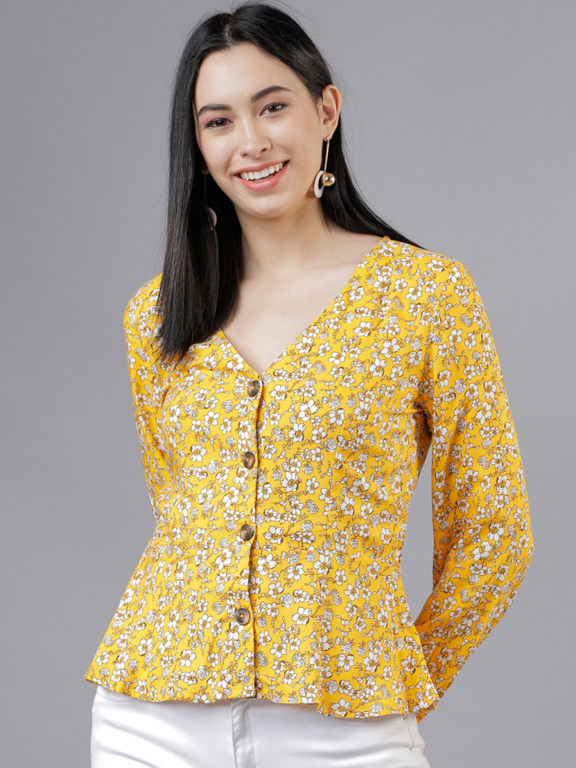 Women Yellow Floral Printed Peplum Top