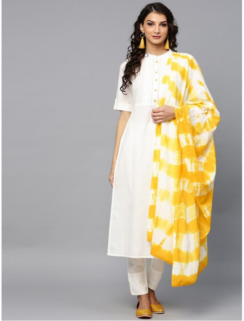 white designer kurta with pants and dupatta