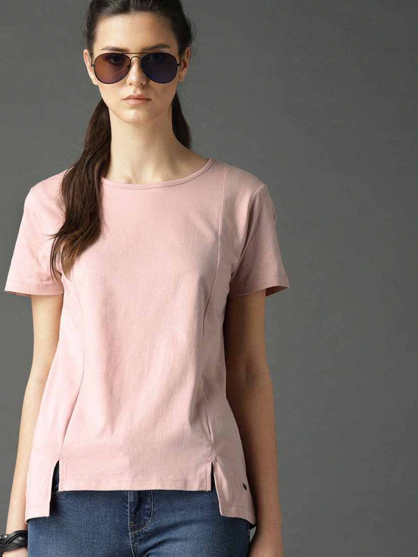 Women Peach-Coloured Solid High-Low Top