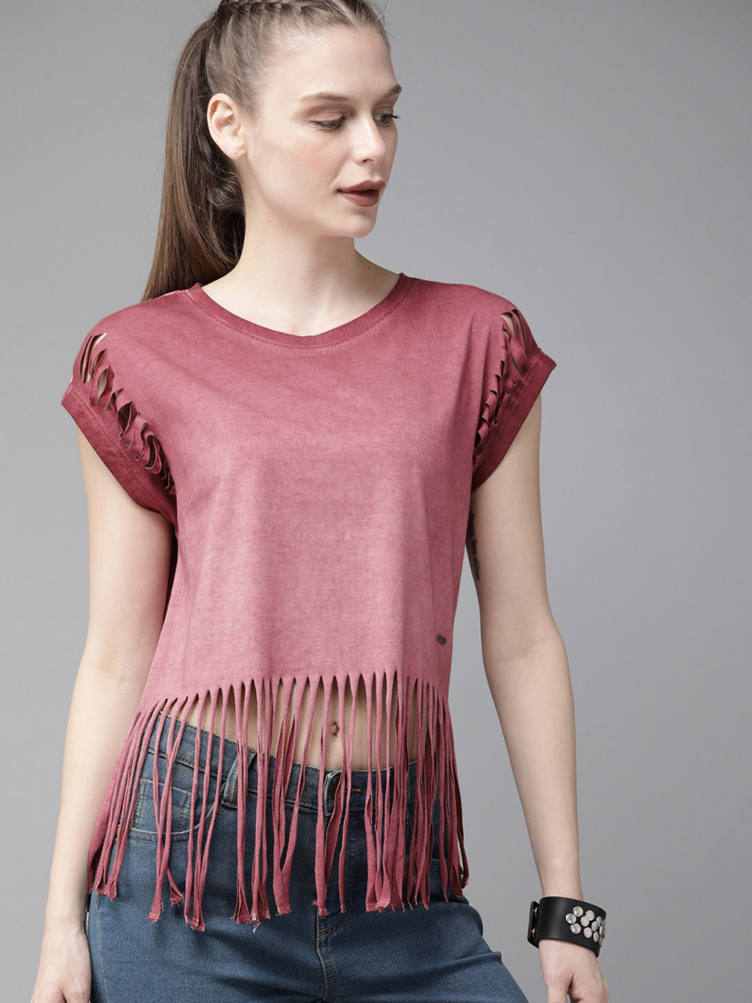 Women Burgundy Fringed Dyed Top
