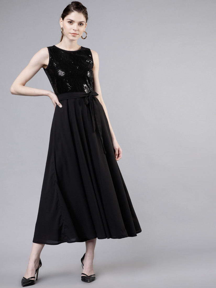Hot Black Stylish Sequence Party Wear Dress