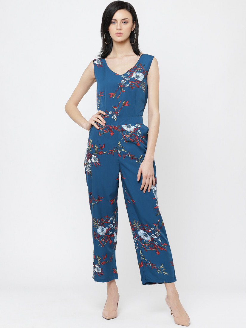 Women Navy Blue & Red Printed Basic Jumpsuit