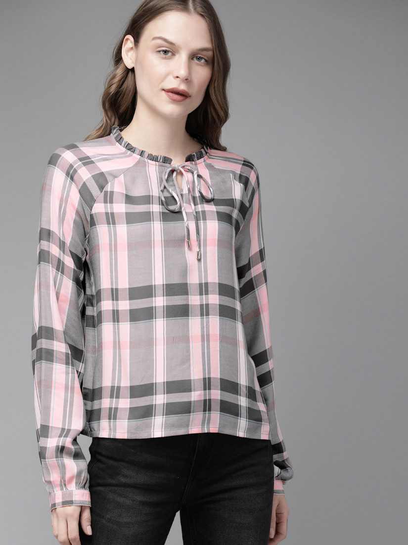 Women Grey & Pink Checked Top