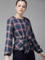 Women Teal Blue & Red Checked Regular Top With Waist Tie-Up