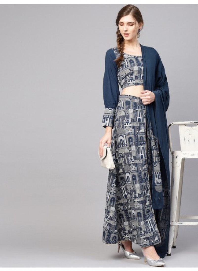 Blue Hawa Mahal Printed Pant Lehenga With Blouse And Dupatta