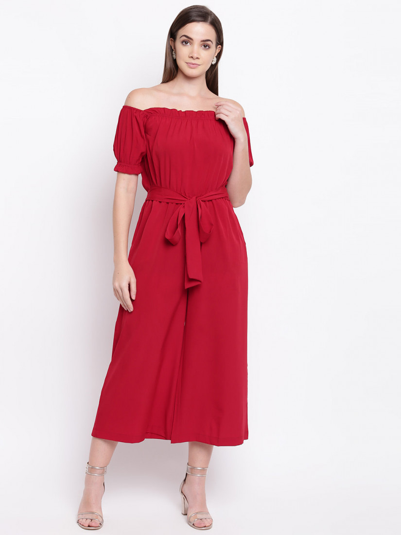 Women Red Solid Culotte Jumpsuit