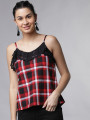 Women Red Checked Top