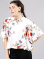 Women Off-White and Beige Floral Printed Peplum Top