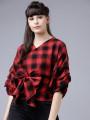 Women Red Checked Wrap Top