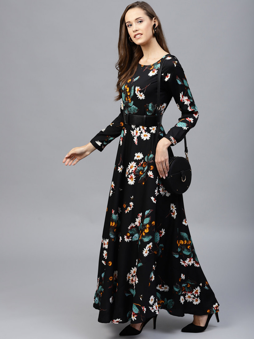 Black Floral Print Flared Maxi Dress with a Belt