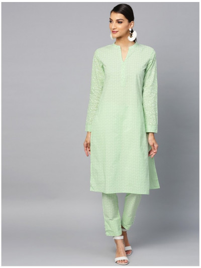 green designer kurta with pants