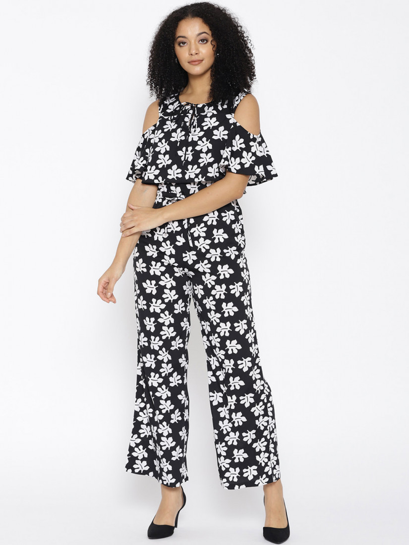 Women Black & White Printed Basic Jumpsuit