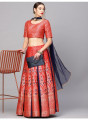 Red Gold Self Designed Lehenga Choli With Dupatta