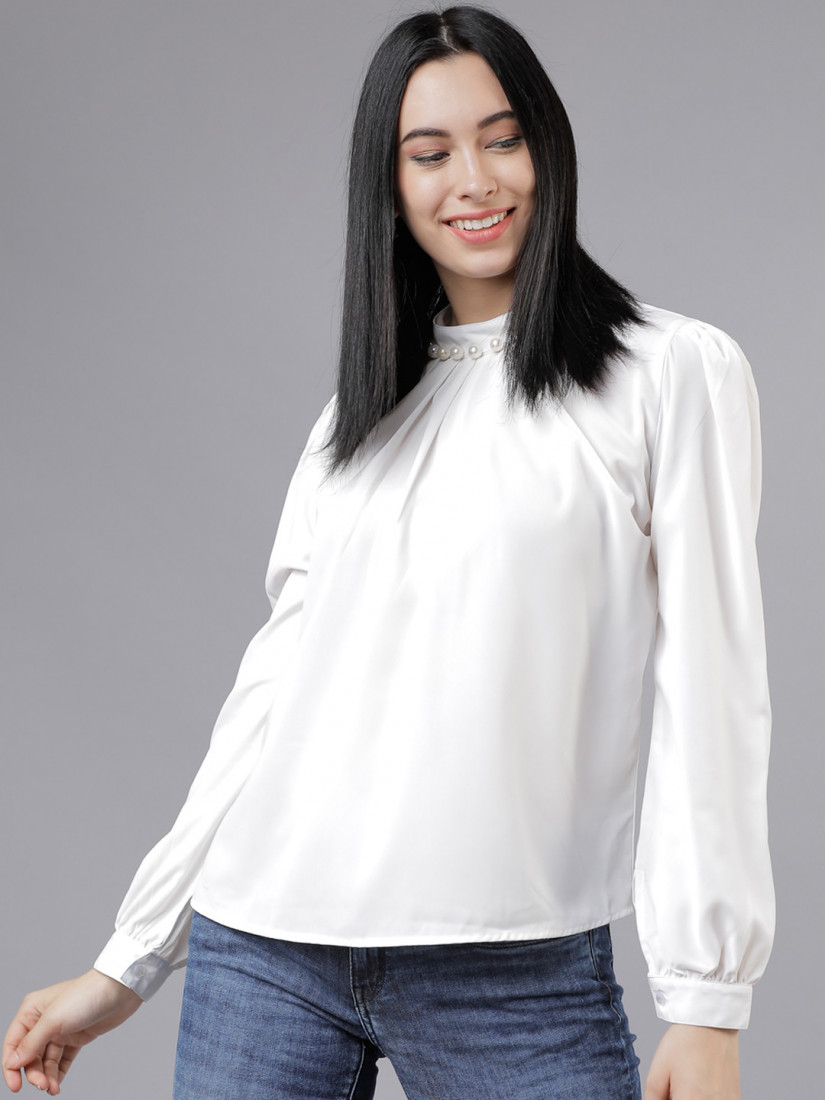 Women Off-White Solid A-Line Top