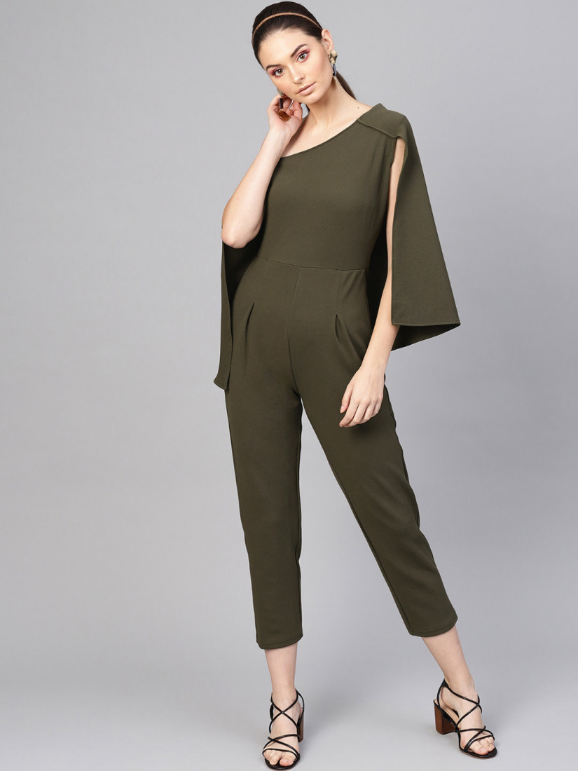 Women Olive Green Solid Culotte Jumpsuit