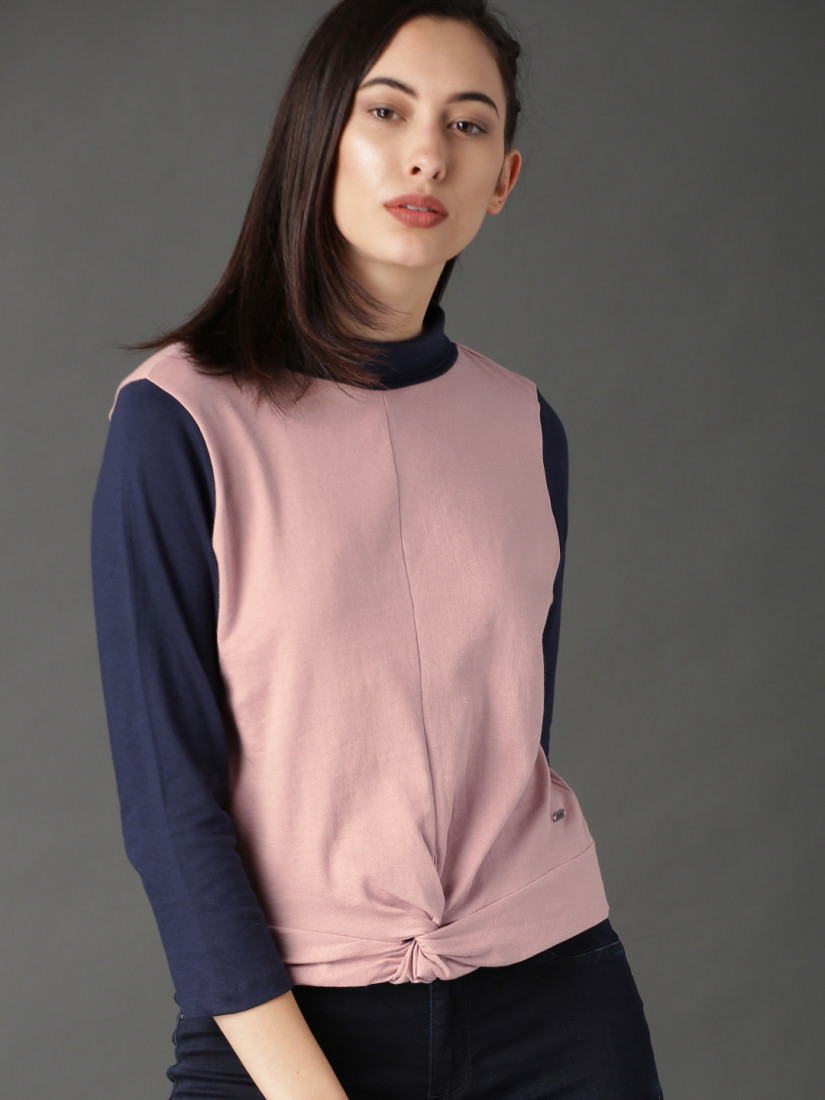 Women Pink & Navy Blue Colorblocked Top with Knot Detail