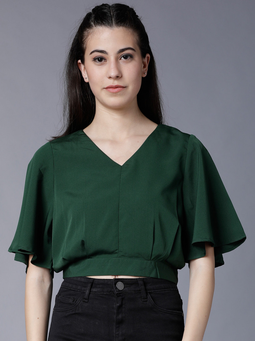 Women Green Solid Blouson Crop Top