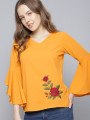 Women Mustard Solid Top with Embroidered Detail