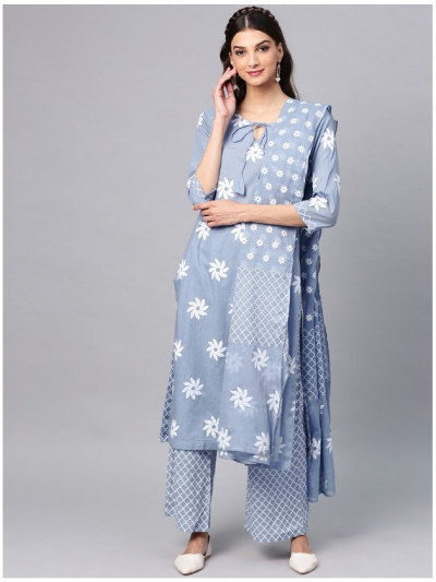 blue designer kurta with plazzo and dupatta