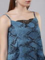 Women Blue & Black Animal Printed A-Line Top