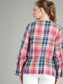 Women Red & Blue Checked Cinched Waist Top
