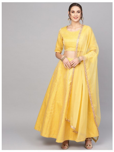 Yellow Brocade Lehenga With Blouse & Dupatta