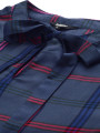 Women Charcoal Grey & Navy Blue Checked Boxy Top