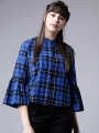Women Blue Checked Shirt Style Top