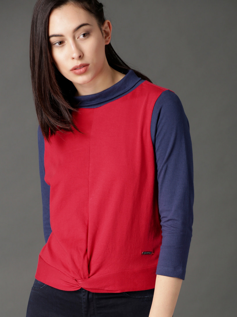 Women Red & Navy Blue Colorblocked Top with Knot Detail