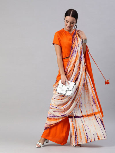 Orange White Viscos Saree
