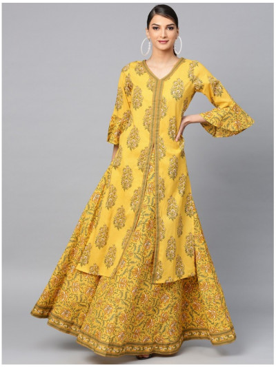yellow designer kurta with lehanga