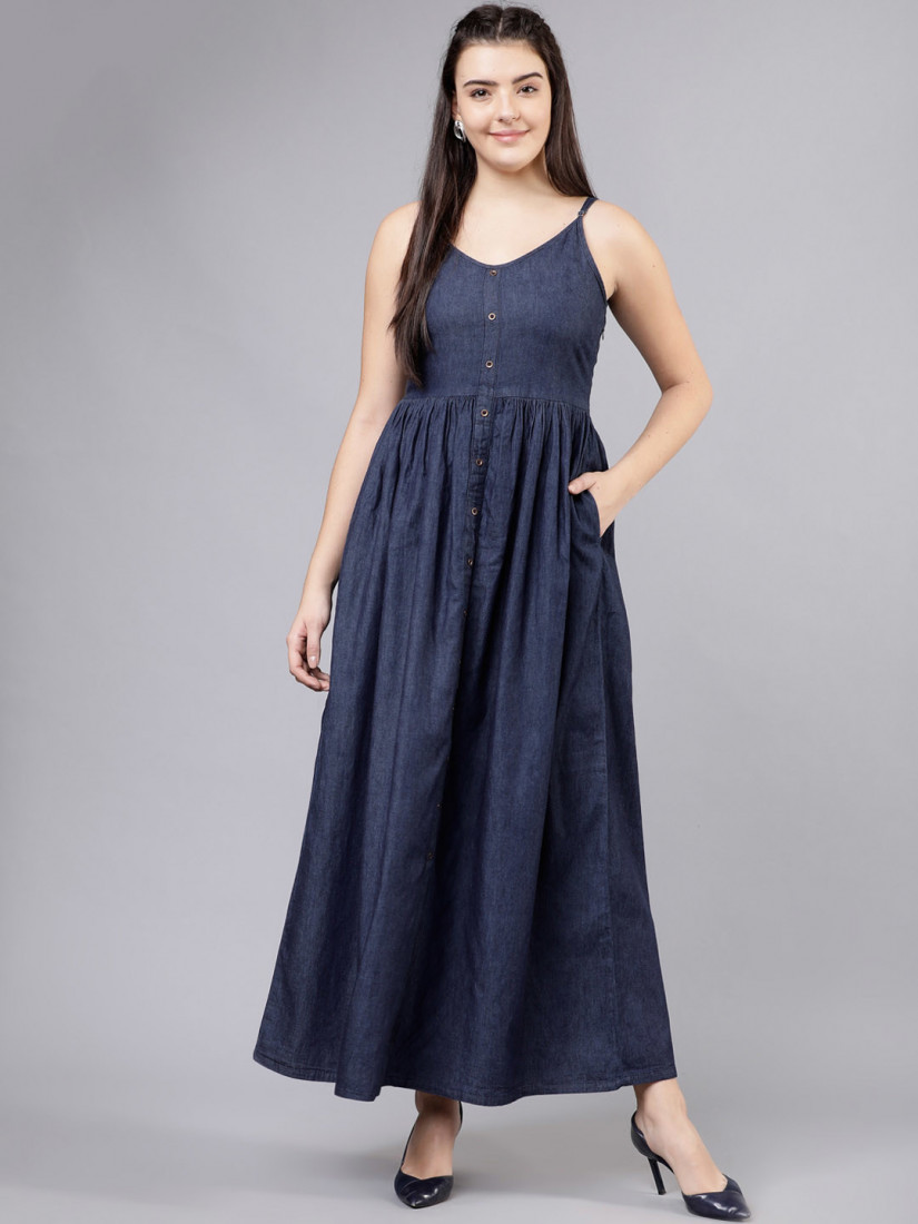 Women Solid Navy Blue Maxi Dress